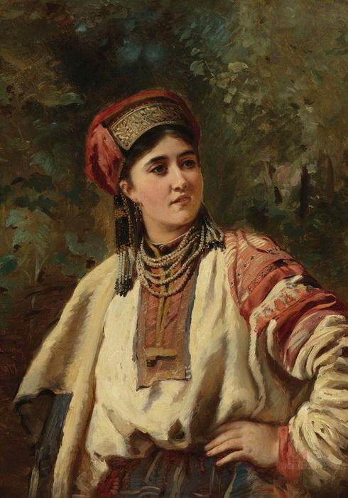 К. Маковский. Девушка в национальном костюме